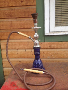 Hand Made Glass Hookah   22 inches tall
