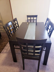 Dining table with 6 chairs - $250