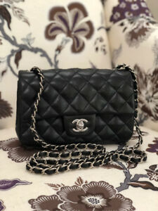 CHANNEL Black BAG Lamb skin with silver Trim