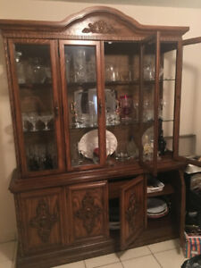 Traditional China Cabinet With table And Chairs