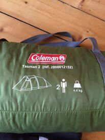 Coleman, Tasman 2 tent for sale with 2 pillows and a sleeping bag FOR FREE