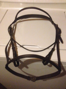 English Bridle Raised Dark Brown All Leather Horse Size New