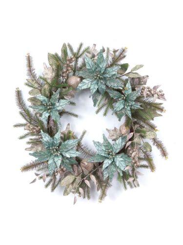 "32276 Melrose 30"" Teal Silver Poinsettia Christmas Wreath Wall Door Decoration"