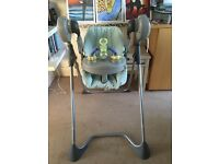 Baby high chair and electronic swing, mamas & papas