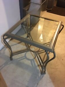 2 glass top end tables one coffee glass top table