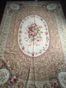 French Hand knotted Aubusson area rug