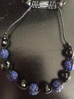 Blue and Black Shambala Bracelet