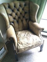 Leather Wing Back Antique Chair
