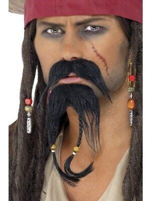 Piraten Bart Set 2-teilig Piratenbart mit Zöpfen Jack Sparrow