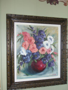 FIRST $250 ~ OIL PAINTING BY H. DAUM~IMPASTO FLOWER BOUQUET