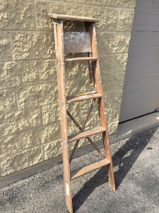 2 Old Wood Ladders