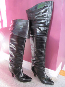 Leather thigh high boots with unique pattern