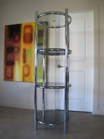 Mid-Century Modern Chrome Etagere Display Unit Shelving