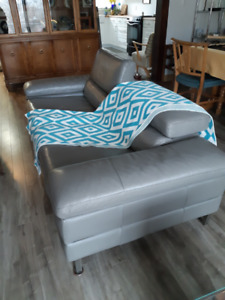 Modern style apartment size grey leather sofa
