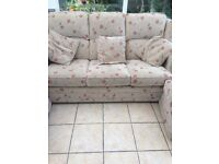 3 seater settee, chair and footstool (leekes)