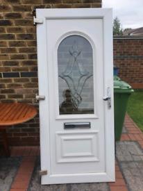 White UPVC Door with Chrome features & Dimond pattern x5 keys