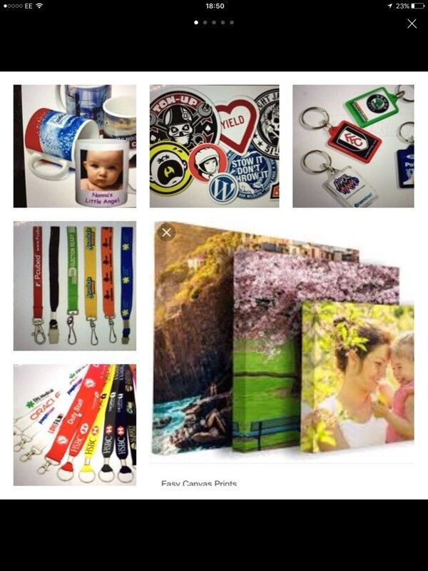 Photo canvas and personalised items,lanyards and full colour printed stickers available