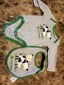 6 month John deere onesie and bib set