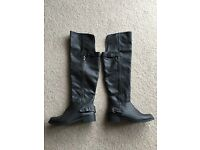 BRAND NEW Black faux leather boots size 4