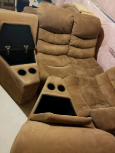 Brown microsuede sectional sofa 6 piece