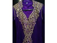 Purple and gold Asian wedding party dress