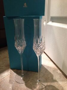 NEW Birks Crystal Champagne Flutes with Box