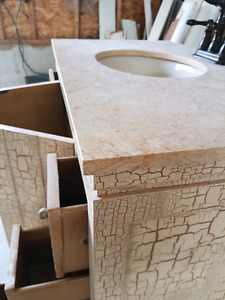 Single sink vanity with stone counter