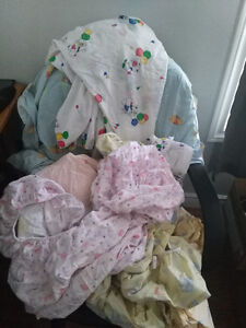 8 well used crib sheets