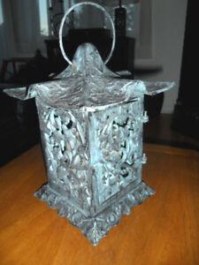 Pagoda-Style Verdigris Garden Lantern