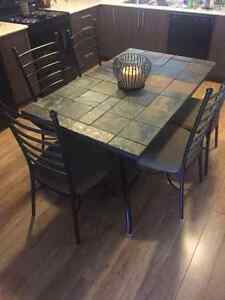 Dinning table with 6 chairs,  bakers rack ,  sofa table