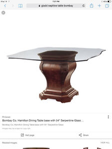 Glass Pedestal Dining Table - Bombay