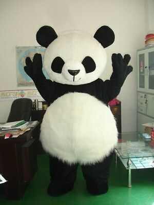 Panda Bear Halloween Costume For Adults (Halloween Panda Bear Mascot Costume Long Fur Cosplay Birthday Dress Adults)