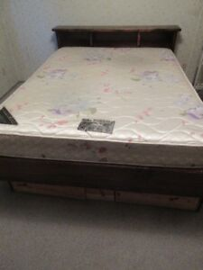 Queen size bed- wooden frame with drawers, mattress & box spring