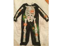 Halloween skeleton dress up onesie age 2-3