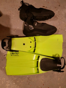 Flippers , water shoes and knife