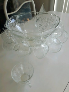 Large glass punch bowl.