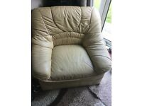 Free cream leather arm chair