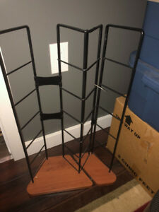 CD Rack. Metal with wood base