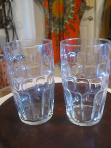 TWO LARGE 6 in.CLEAR-GLASS EMBOSSED BEER GLASSES