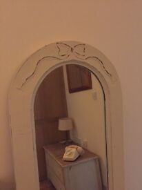 Vintage tall cream chalk painted mirror REDUCED