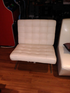 REDUCED: 2 REPRO White leather Barcelona chairs and 1 ottoman.