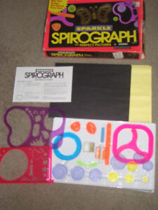 VINTAGE KENNER 1994 SPARKLE SPIROGRAPH TOY GAME: INCLUDES PAPER