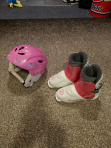 Girls ski boots and helmet package.
