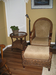 Chair, Ottoman and table