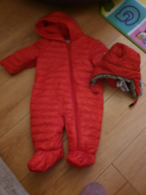 Baby Boy Snowsuit & hat 3-6 Months M&S Red EXCELLENT CONDITION