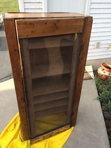 Vintage pine PIE SAFE cupboard with stain antique