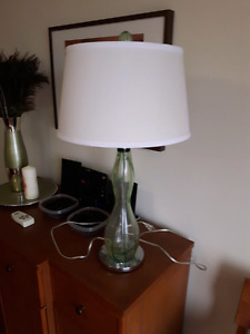 Glass table lamp with green strip