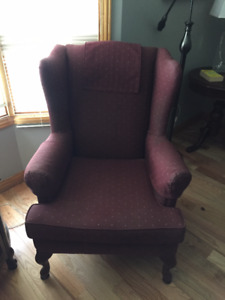 Two wing back chairs- recently re-upholstered