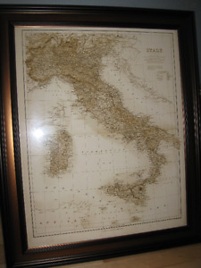 Large Framed Map of Italy - High quality