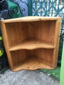 Corner pine shelf